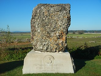 Roxbury Conglomerate - Monument to the 20th Massachusetts Infantry on the Gettysburg Battlefield made of Roxbury Conglomerate.