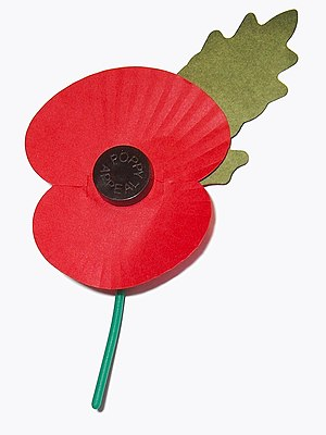 A paper poppy, worn in the United Kingdom from...
