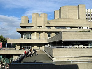 "Royal National Theatre - Denys Lasdun's building for the National Theatre – an ""urban landscape"" of interlocking terraces responding to the site at King's Reach on the River Thames to exploit views of St Paul's Cathedral and Somerset House."