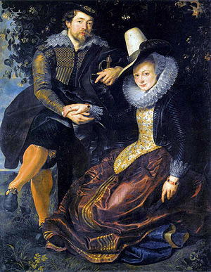 1600–50 in Western European fashion - The artist Rubens with his first wife c. 1610. Her long, rounded stomacher and jacket-like bodice are characteristic Dutch fashions