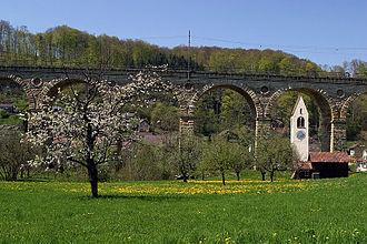History of rail transport in Switzerland - Ruemlingen Viaduct on the original Basel-Olten line opened in 1858