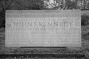 Enclave and exclave - The John F. Kennedy Memorial at Runnymede, United Kingdom placed on land given to the United States of America in 1965.