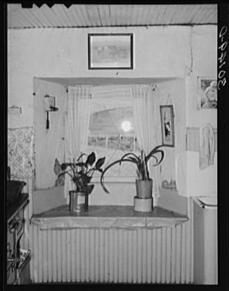 Sod house - Interior of a sod house, North Dakota, 1937