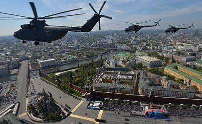 Russian Air Force helicopters over Red Square as part of the flypast for the 2015 Victory Day Parade.jpg