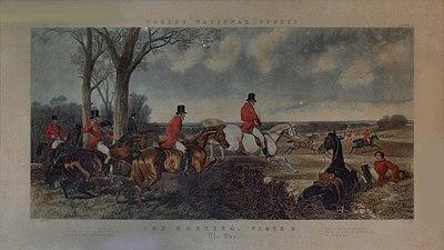 La corsa della caccia alla volpe, in una stampa inglese ottocentesca