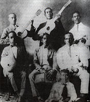 First known photo of the Sexteto Habanero, 1920. From left to right, back: Guillermo Castillo, Carlos Godínez and Gerardo Martínez; front: Antonio Bacallao, Óscar Sotolongo and Felipe Neri Cabrera.