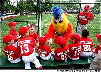 San Diego Chicken - The Famous Chicken appears at the 2001 White House Tee Ball Initiative a tee-ball game on the south lawn of the White House