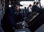 Sailor standing radar operator watch aboard USS Anchorage (LPD-23) during Suez Canal transit 180927-N-PH222-1367.jpg