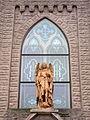 Saint Michael the Archangel Parich (Findlay, Ohio), Downtown Church, exterior, statue of St. Michael defeating Lucifer.jpg