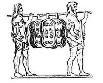 Carmen Saliare - Roman bas relief. The Salian priests carry their sacred shields.