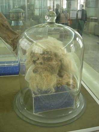 Saltmen - Head of Salt Man 1 on display at National Museum of Iran in Tehran