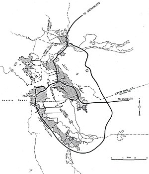 Interstate 680 (California) - 1955 map of the planned Interstates in the San Francisco Bay Area. These early plans essentially called for an interstate loop route that would head south down the San Francisco Peninsula from San Francisco to San Jose, then head north through the eastern cities of the East Bay to Vallejo. This route now basically comprises present-day I-280, I-680, and I-780.