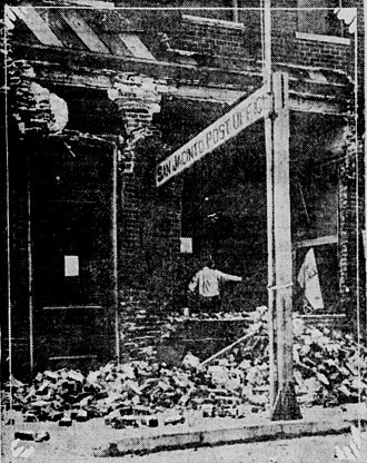 1918 San Jacinto earthquake - The San Jacinto post office after the quake