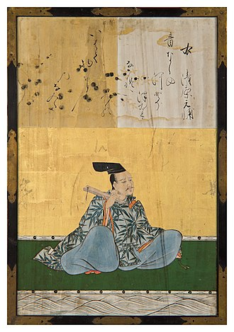 Thirty-Six Immortals of Poetry - Kiyohara no Motosuke by Kanō Yasunobu, 1648