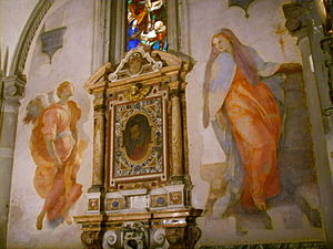 Capponi Chapel - Pontormo's Annunciation with the tabernacle.