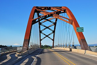 Sauvie Island Bridge - A roadway-level view of the new bridge, with Mt. St. Helens in the background