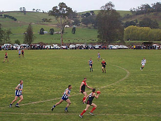 Australian rules football in Victoria - The grand final of the Omeo & District Football League in 2001.