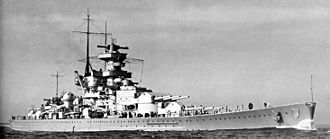 "Scharnhorst-class battleship - Scharnhorst, before the fitting of the ""Atlantic bow"""