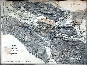 Battle of Feldkirch - Map shows the Battle of Feldkirch, 23 March 1799. Noffles is at top right, under the north arrow. The hill just above and to the left of Feldkirch is the Blasenberg.