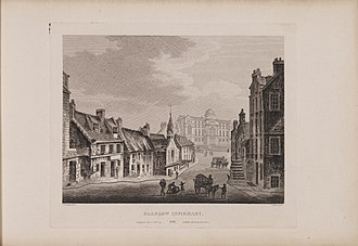 Glasgow Royal Infirmary - Etching of a view of the infirmary by James Fittler in Scotia Depicta, published 1804