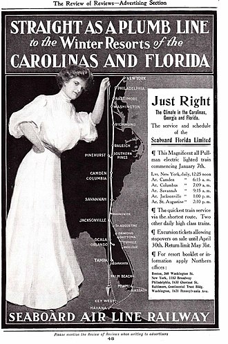 "Seaboard Air Line Railroad - ""Straight as a plumb line"": Seaboard Air Line Railway advertisement illustrating the ""quickest train service via the shortest route"" to Florida, 1902."