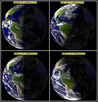 Winter solstice occurs in December for the northern hemisphere, and June for the southern hemisphere. Seasonearth.png