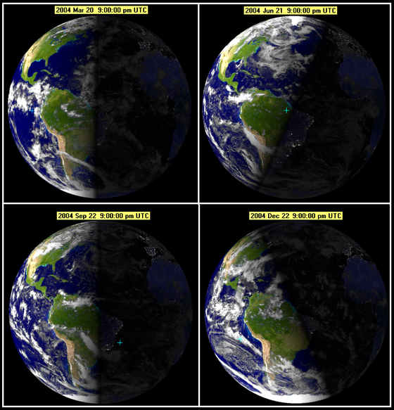 Illumination of Earth at each change of astronomical season Seasonearth.png