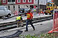 Seattle - laying trolley tracks on Broadway at James 03.jpg