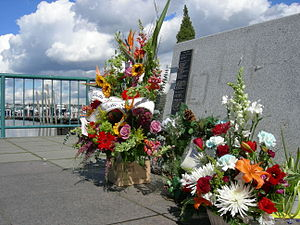 Fishermen's Terminal - Flowers left at the Fishermen's Memorial in memory of the dead of the Arctic Rose.