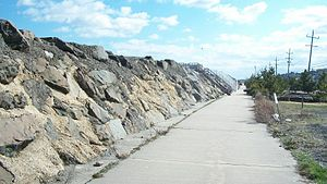 Sea Bright, New Jersey - A Sea Bright-Monmouth Beach Seawall between the beach and Route 36 in Sea Bright