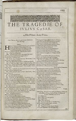 Julius Caesar (play) - The first page of Julius Caesar, printed in the Second Folio of 1632