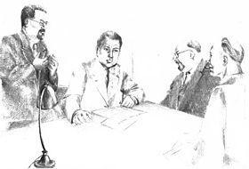 Réunion du secrétariat du PCF clandestin en 1943, à Longjumeau (Seine-et-Oise) de gauche à droite : Benoît Frachon, Auguste Lecœur, Jacques Duclos et Charles Tillon