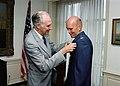 Secretary of Defense hosts award ceremony for four Astronauts. Three military, Colonel Gordon C. Fullerton, USAF, a Marine Corps Colonel and a Navy Captain receive the Defense Super - DPLA - 80579f982df2f4fe666e3e90458b51e5.jpeg