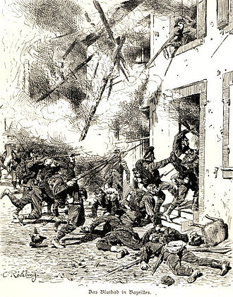 Battle of Bazeilles - Das Blutbad in Bazeilles. Bavarian troops were ambushed by French marines hiding in a house