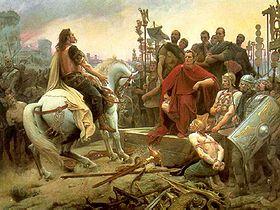 Vercingétorix dépose les armes aux pieds de Jules César à l'issue du siège d'Alésia. Tableau de Lionel Royer, 1899.