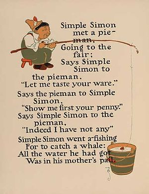 Simple Simon (nursery rhyme) - Image: Simple Simon 1 WW Denslow Project Gutenberg etext 18546