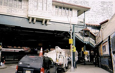 The Simpson Street elevated station was built in 1904 and opened on November 26, 1904. It was listed in the National Register of Historic Places on September 17, 2004, reference #04001027. Simpson Street Station.jpg