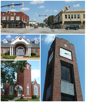 Simpsonville, South Carolina - From top, left to right: Downtown, City Hall, Simpsonville Baptist Church, Simpsonville Clock Tower