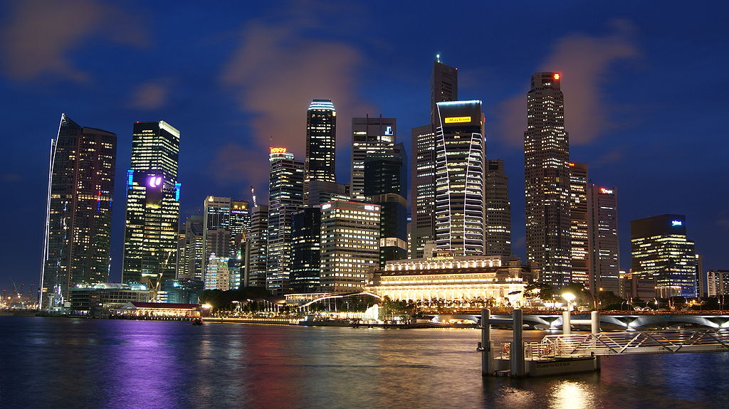 Singapore Skyline at Night with Blue Sky