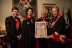 Kento Masuda - Kento Masuda being accoladed by the Knights of the Order of Sovereign Military Order of Malta.