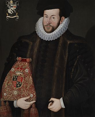 John Puckering - Sir John Puckering, holding the Lord Keeper's Purse embroidered with the royal arms of Queen Elizabeth I