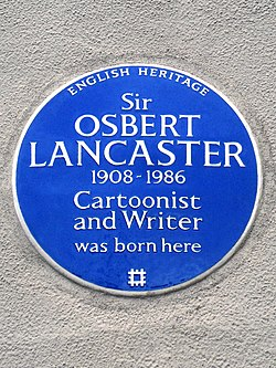 Photo of Osbert Lancaster blue plaque