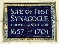 Site of first synagogue after the resettlement 1657   1701