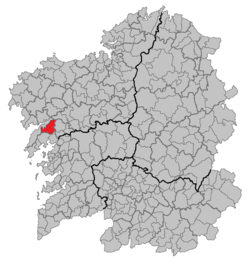 Location of Lousame within Galicia