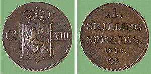 Skilling (currency) - One Norwegian skilling, 1816