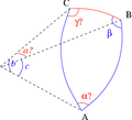 Solve spherical triangle with b c beta.png