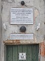 Soproni út 50, plaques and cannonballs, 2019 Csorna.jpg