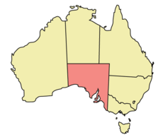 Map of Australia with Nam Úc highlighted