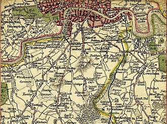 South London - South of London in 1800, note the border between Surrey and Kent.