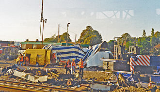 Southall rail crash - View of the aftermath from a passing train